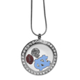 N. Carolina Tar Heels Locket Necklace - We have taken the classic floating charm locket and combined with licensed sports charms to create a must have fan necklace. The necklace comes with 3 charms; 1 N. Carolina Tar Heels charm, one football charm and one helmet charm. The charms float in a beautiful locket that has a strong magnetic closure with a rhinestone border. The locket comes on an 18 inch snake chain with 2 inch extender.