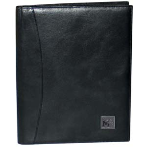 "Memphis Tigers Leather Portfolio - This genuine Memphis Tigers leather portfolio fits an 8 1/2"" x 11"" writing pad and includes slots for your credit cards, a spacious pocket and a pen holder. The front of the Memphis Tigers Leather Portfolio features a hand painted metal square with the primary team logo. Thank you for shopping with CrazedOutSports.com"