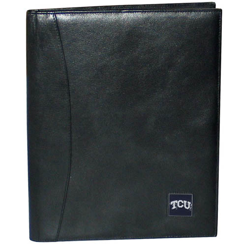 "TCU Leather Portfolio - This genuine leather portfolio fits an 8 1/2"" x 11"" writing pad and includes slots for your credit cards, a spacious pocket and a pen holder. The front features a hand painted metal square with the primary team logo. Thank you for shopping with CrazedOutSports.com"