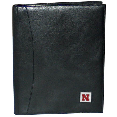 "College Leather Portfolio - Nebraska Cornhuskers - This genuine leather portfolio fits an 8 1/2"" x 11"" writing pad and includes slots for your credit cards, a spacious pocket and a pen holder. The front features a hand painted metal square with the primary team logo. Thank you for shopping with CrazedOutSports.com"