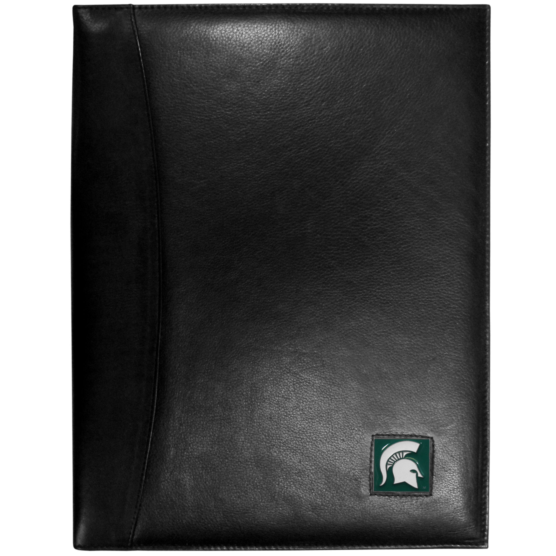 Michigan St. Spartans Leather Portfolio - This genuine leather portfolio fits an 8 1/2 x 11 inch writing pad and includes slots for your credit cards, a spacious pocket and a pen holder. The front features a hand painted metal square with the primary Michigan St. Spartans logo emblem.