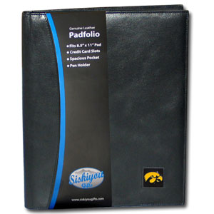 "College Leather Portfolio - Iowa Hawkeyes - This Iowa Hawkeyes genuine leather portfolio fits an 8 1/2"" x 11"" writing pad and includes slots for your credit cards, a spacious pocket and a pen holder. The front features a hand painted metal square with the primary team logo. Thank you for shopping with CrazedOutSports.com"