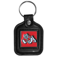 Fresno St. Bulldogs Square Leather Key Chain - Our genuine leather key chain features a metal Fresno St. Bulldogs emblem with enameled details. Thank you for shopping with CrazedOutSports.com