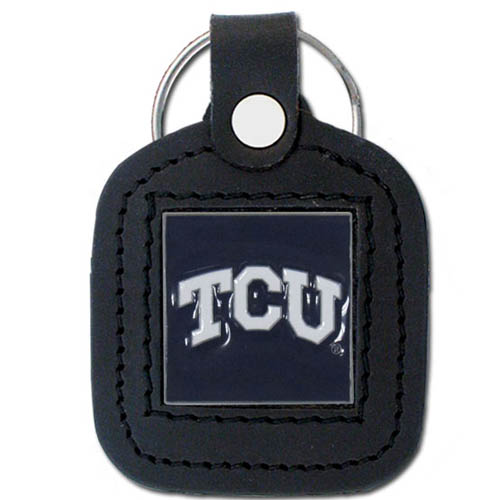 TCU Leather Key Chain - This square college key ring features fine leather surrounding a sculpted and enameled logo. Check out our entire line of  collegiate merchandise! Thank you for shopping with CrazedOutSports.com