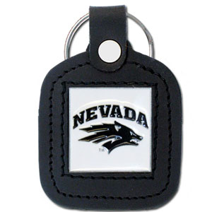 Nevada Leather Key Chain - This square college key ring features fine leather surrounding a sculpted and enameled logo. Check out our entire line of  collegiate merchandise! Thank you for shopping with CrazedOutSports.com