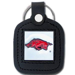 College Leather Key Ring - Arkansas Razorbacks - This square Arkansas Razorbacks college key ring features fine leather surrounding a sculpted and enameled logo. Check out our entire line of  collegiate merchandise! Thank you for shopping with CrazedOutSports.com
