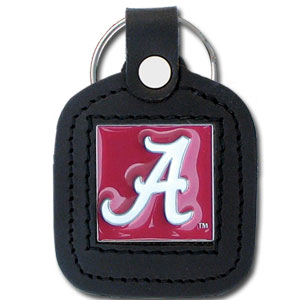 College Leather Key Ring - Alabama Crimson Tide - This Alabama Crimson Tide square college key ring features fine leather surrounding a sculpted and enameled logo. Check out our entire line of  collegiate merchandise! Thank you for shopping with CrazedOutSports.com