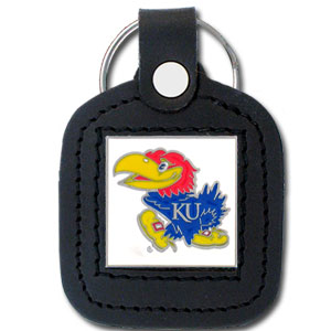 College Leather Key Ring - Kansas Jayhawks - This square college key ring features fine leather surrounding a sculpted and enameled logo. Check out our entire line of  collegiate merchandise! Thank you for shopping with CrazedOutSports.com