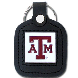 College Leather Key Rings - Texas AandM Aggies - This square college key ring features fine leather surrounding a sculpted and enameled logo. Check out our entire line of  collegiate merchandise! Thank you for shopping with CrazedOutSports.com