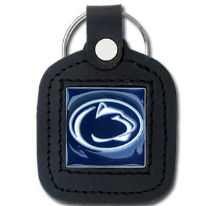 College Leather Key Ring - Penn State Nittany Lions - This square college key ring features fine leather surrounding a sculpted and enameled logo. Check out our entire line of  collegiate merchandise! Thank you for shopping with CrazedOutSports.com