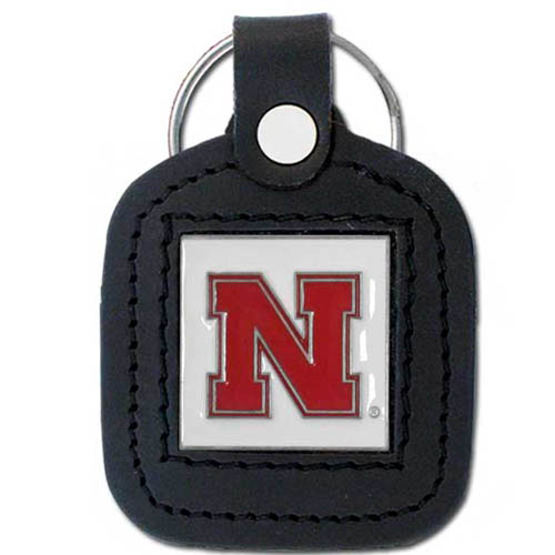 College Leather Key Ring - Nebraska Cornhuskers - This square college key ring features fine leather surrounding a sculpted and enameled logo. Check out our entire line of  collegiate merchandise! Thank you for shopping with CrazedOutSports.com