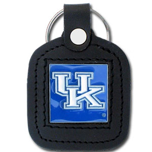 College Leather Key Ring - Kentucky Wildcats - This square college key ring features fine leather surrounding a sculpted and enameled logo. Check out our entire line of  collegiate merchandise! Thank you for shopping with CrazedOutSports.com