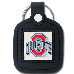 College Leather Key Ring - Ohio State Buckeyes - This square college key ring features fine leather surrounding a sculpted and enameled logo. Check out our entire line of  collegiate merchandise! Thank you for shopping with CrazedOutSports.com