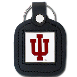 College Leather Key Ring - Indiana Hoosiers - This square Indiana Hoosiers college key ring features fine leather surrounding a sculpted and enameled logo. Check out our entire line of  collegiate merchandise! Thank you for shopping with CrazedOutSports.com