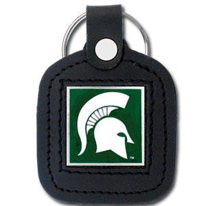 Michigan St. Spartans College Leather Key Ring - This square Michigan St. Spartans College Leather Key Ring features fine leather surrounding a sculpted and enameled logo. Check out our entire line of  collegiate merchandise! Thank you for shopping with CrazedOutSports.com