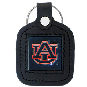 College Leather Key Ring - Auburn Tigers - This square college key ring features fine leather surrounding a sculpted and enameled Auburn Tigers logo. Check out our entire line of  collegiate merchandise! Thank you for shopping with CrazedOutSports.com