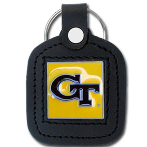 College Leather Key Ring - Georgia Tech Yellow Jackets - This square college key ring features fine leather surrounding a sculpted and enameled logo. Check out our entire line of  collegiate merchandise! Thank you for shopping with CrazedOutSports.com
