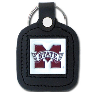 College Leather Key Ring - Mississippi State Bulldogs - This square college key ring features fine leather surrounding a sculpted and enameled logo. Check out our entire line of  collegiate merchandise! Thank you for shopping with CrazedOutSports.com