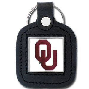 College Leather Key Ring - Oklahoma Sooners - This square college key ring features fine leather surrounding a sculpted and enameled logo. Check out our entire line of  collegiate merchandise! Thank you for shopping with CrazedOutSports.com