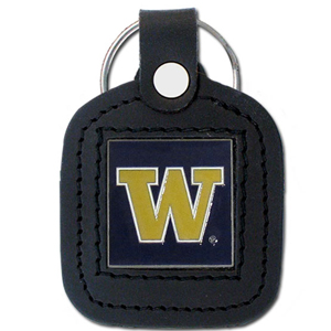 College Leather Key Ring - Washington Huskies - This square college key ring features fine leather surrounding a sculpted and enameled logo. Check out our entire line of  collegiate merchandise! Thank you for shopping with CrazedOutSports.com