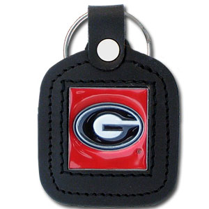 College Leather Key Ring - Georgia Bulldogs - This square leather Georgia Bulldogs college key ring features fine leather surrounding a sculpted and enameled Georgia Bulldogs logo. Check out our entire line of  collegiate merchandise! Thank you for shopping with CrazedOutSports.com