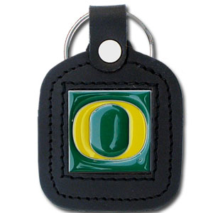 College Leather Key Ring - Oregon Ducks - This square college key ring features fine leather surrounding a sculpted and enameled logo. Check out our entire line of  collegiate merchandise! Thank you for shopping with CrazedOutSports.com