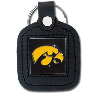 College Leather Key Ring - Iowa Hawkeyes - This Iowa Hawkeyes square college key ring features fine leather surrounding a sculpted and enameled logo. Check out our entire line of  collegiate merchandise! Thank you for shopping with CrazedOutSports.com
