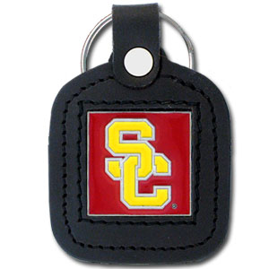 College Leather Key Ring - USC Trojans - This square college key ring features fine leather surrounding a sculpted and enameled logo. Check out our entire line of  collegiate merchandise! Thank you for shopping with CrazedOutSports.com