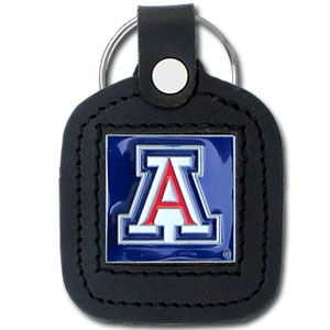 College Leather Key Ring - Arizona Wildcats - This square Arizona Wildcats college key ring features fine leather surrounding a sculpted and enameled Arizona Wildcats logo. Check out our entire line of  collegiate merchandise! Thank you for shopping with CrazedOutSports.com