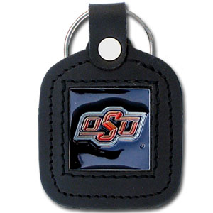 College Leather Key Ring - Oklahoma State Cowboys - This square college key ring features fine leather surrounding a sculpted and enameled logo. Check out our entire line of  collegiate merchandise! Thank you for shopping with CrazedOutSports.com