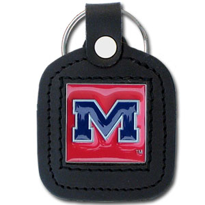 College Leather Key Ring - Mississippi Rebels - This square college key ring features fine leather surrounding a sculpted and enameled logo. Check out our entire line of  collegiate merchandise! Thank you for shopping with CrazedOutSports.com
