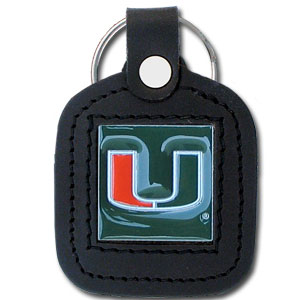 Miami Hurricanes College Leather Key Chain - This square Miami Hurricanes College Leather Key Chain features fine leather surrounding a sculpted and enameled logo. Check out our entire line of  collegiate merchandise! Thank you for shopping with CrazedOutSports.com
