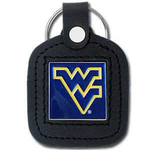 College Leather Key Ring - West Virginia Mountaineers - This square college key ring features fine leather surrounding a sculpted and enameled logo. Check out our entire line of  collegiate merchandise! Thank you for shopping with CrazedOutSports.com