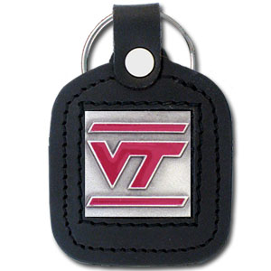 College Leather Key Ring - Virginia Tech Hokies - This square college key ring features fine leather surrounding a sculpted and enameled logo. Check out our entire line of  collegiate merchandise! Thank you for shopping with CrazedOutSports.com