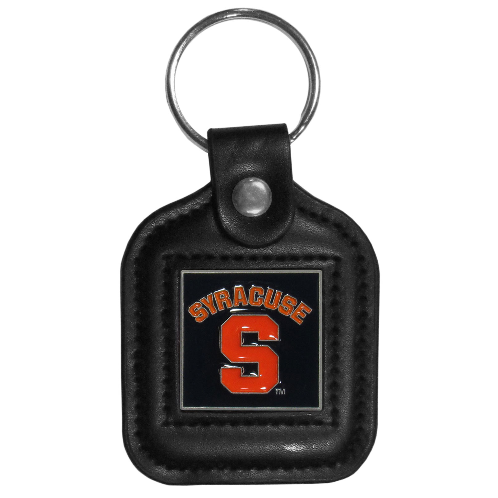 Syracuse Orange Square Leatherette Key Chain - Our Syracuse Orange black key fob with stitched detail and inlaid, metal team emblem with enameled color details.
