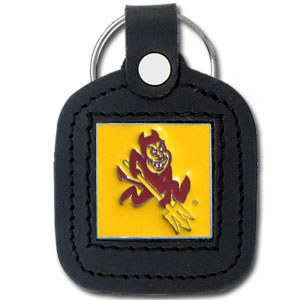 College Leather Key Ring - Arizona State Sun Devils - This square Arizona State Sun Devils college key ring features fine leather surrounding a sculpted and enameled logo. Check out our entire line of  collegiate merchandise! Thank you for shopping with CrazedOutSports.com