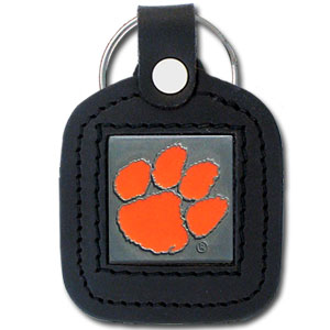 College Leather Key Ring - Clemson Tigers - This square college key ring features fine leather surrounding a sculpted and enameled Clemson Tigers logo. Check out our entire line of  collegiate merchandise! Thank you for shopping with CrazedOutSports.com
