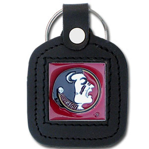 College Leather Key Ring - Florida State Seminoles - This square Florida State Seminoles college key ring features fine leather surrounding a sculpted and enameled Florida State Seminoles logo. Check out our entire line of  collegiate merchandise! Thank you for shopping with CrazedOutSports.com