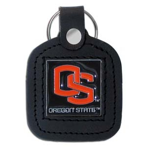 College Leather Key Ring - Oregon State Beavers - This square college key ring features fine leather surrounding a sculpted and enameled logo. Check out our entire line of  collegiate merchandise! Thank you for shopping with CrazedOutSports.com