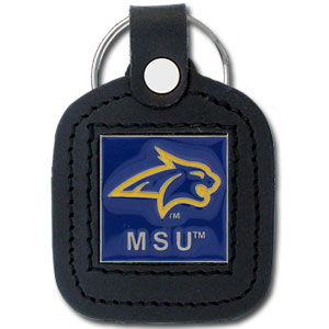College Leather Key Ring - Montana State Bobcats - This square college key ring features fine leather surrounding a sculpted and enameled logo. Check out our entire line of  collegiate merchandise! Thank you for shopping with CrazedOutSports.com