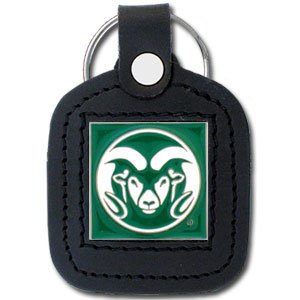 College Leather Key Ring - Colorado St. Rams - This square Colorado State Rams college key ring features fine leather surrounding a sculpted and enameled Colorado State Rams logo. Check out our entire line of  collegiate merchandise! Thank you for shopping with CrazedOutSports.com