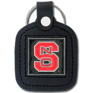 College Leather Key Ring - N. Carolina St. Wolfpack - This square college key ring features fine leather surrounding a sculpted and enameled logo. Check out our entire line of  collegiate merchandise! Thank you for shopping with CrazedOutSports.com