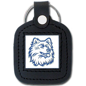 College Leather Key Ring - UCONN Huskies - This square college key ring features fine leather surrounding a sculpted and enameled logo. Check out our entire line of  collegiate merchandise! Thank you for shopping with CrazedOutSports.com