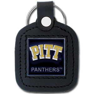 College Leather Key Ring - Pittsburgh Panthers - This square college key ring features fine leather surrounding a sculpted and enameled logo. Check out our entire line of  collegiate merchandise! Thank you for shopping with CrazedOutSports.com