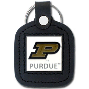 College Leather Key Ring - Purdue Boilermakers - This square college key ring features fine leather surrounding a sculpted and enameled logo. Check out our entire line of  collegiate merchandise! Thank you for shopping with CrazedOutSports.com