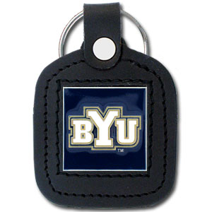 College Leather Key Ring - BYU Cougars - This square college key ring features fine leather surrounding a sculpted and enameled  BYU Cougars logo. Check out our entire line of  collegiate merchandise! Thank you for shopping with CrazedOutSports.com