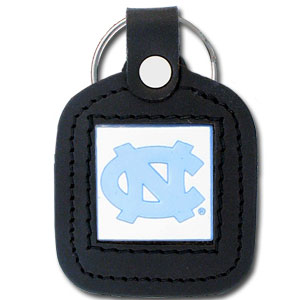 College Leather Key Ring - North Carolina Tar Heels - This square college key ring features fine leather surrounding a sculpted and enameled logo. Check out our entire line of  collegiate merchandise! Thank you for shopping with CrazedOutSports.com