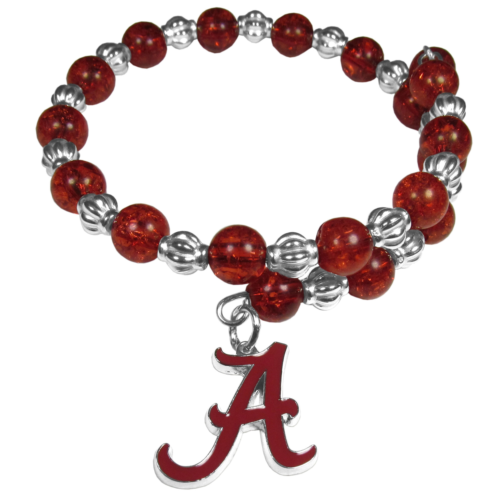 Alabama Crimson Tide Bead Memory Wire Bracelet - Our Alabama Crimson Tide memory wire bead bracelet is trendy way to show off your love of the game. The double wrap bracelet is completely covered in 7.5 mm crystals that are broken up with silvertoned beads creating a designer look with a sporty twist. The bracelet features a fully cast, metal team charm that has expertly enameled team colors. This fashion jewelry piece is a must-have for the die-hard fan that chic look that can dress up any outfit.