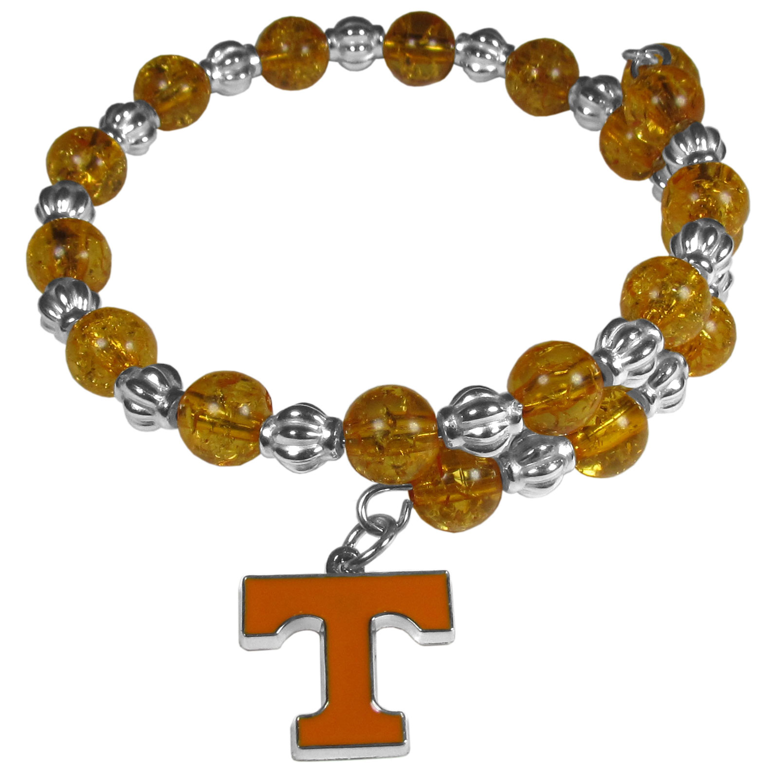 Tennessee Volunteers Bead Memory Wire Bracelet - Our Tennessee Volunteers memory wire bead bracelet is trendy way to show off your love of the game. The double wrap bracelet is completely covered in 7.5 mm crystals that are broken up with silvertoned beads creating a designer look with a sporty twist. The bracelet features a fully cast, metal team charm that has expertly enameled team colors. This fashion jewelry piece is a must-have for the die-hard fan that chic look that can dress up any outfit.