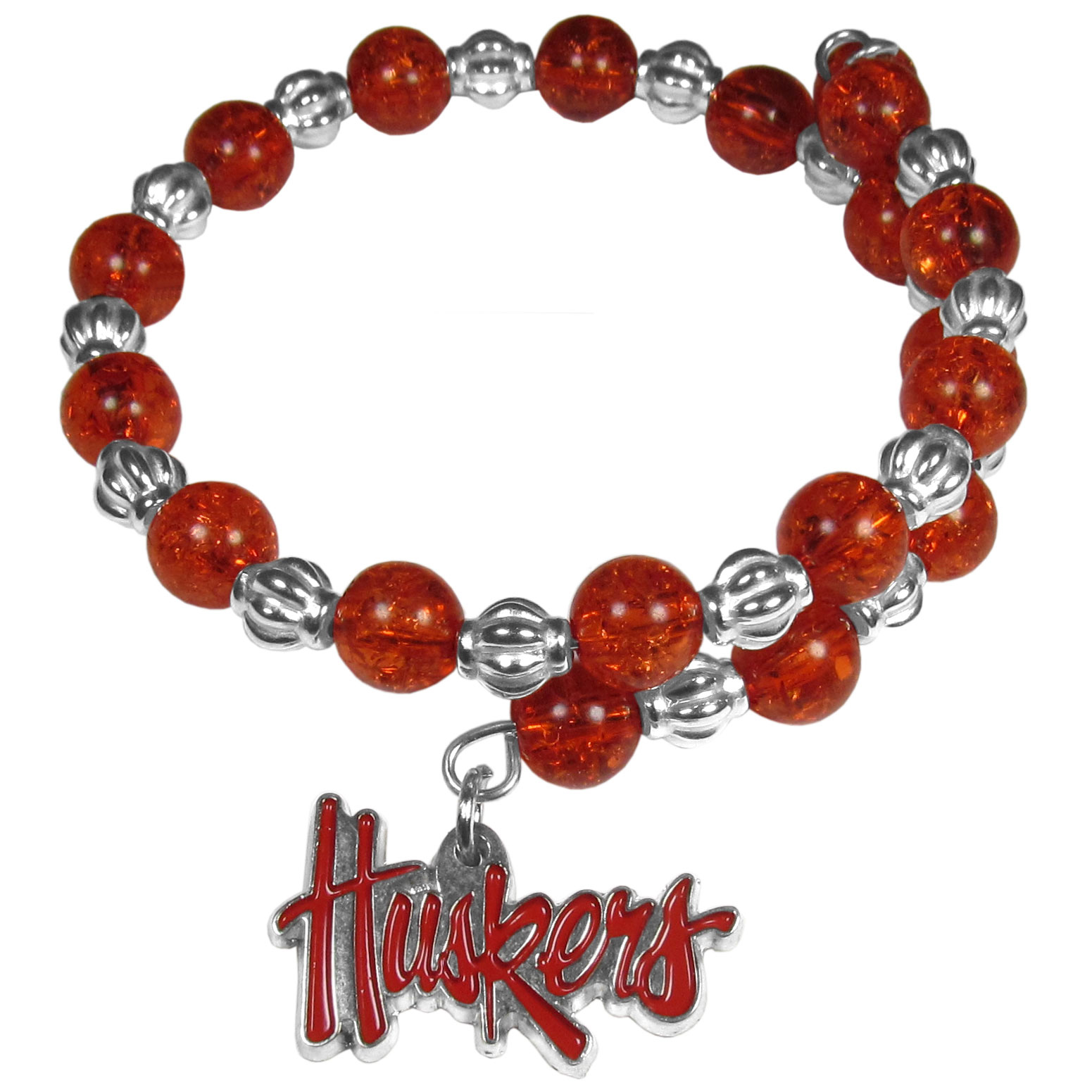 Nebraska Cornhuskers Bead Memory Wire Bracelet - Our Nebraska Cornhuskers memory wire bead bracelet is trendy way to show off your love of the game. The double wrap bracelet is completely covered in 7.5 mm crystals that are broken up with silvertoned beads creating a designer look with a sporty twist. The bracelet features a fully cast, metal team charm that has expertly enameled team colors. This fashion jewelry piece is a must-have for the die-hard fan that chic look that can dress up any outfit.